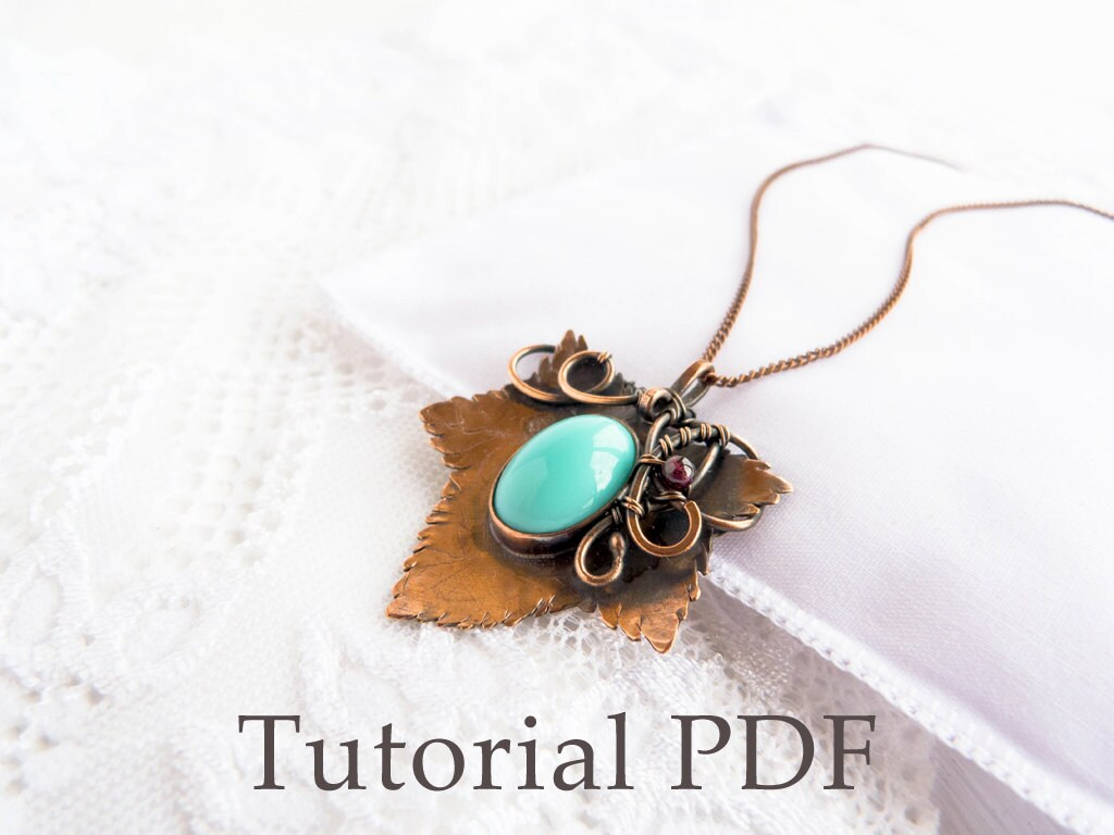 Tutorial jewelry DIY project - Leaf pendant - Bezel for cabochon ...