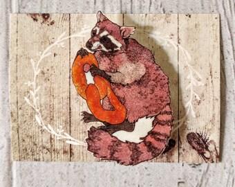 Raccoon Pretzel Brooch