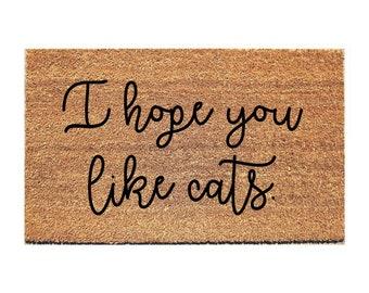 Hope You Like Cats Doormat - Funny Mat - Cat Doormat - Funny Doormat - Funny  sc 1 st  Etsy & Cat doormat | Etsy