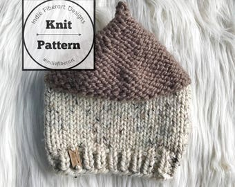 DIY KNITTING PATTERN // The Oakley Beanie // Acorn Hat // Newborn - Adult Sizes // Chunky Super Bulky Knit Hat