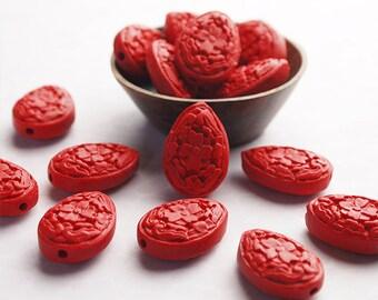 6 Red Cinnabar Teardrop Flat Beads Matte Carved Floral Motif Size 22 x 16mm