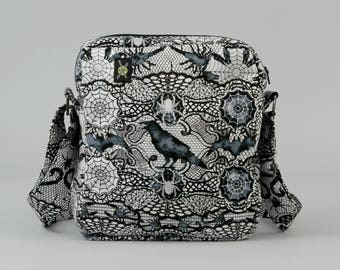 Gothic Black and White Small Crossbody Bag with Pockets, Ravens, Scorpions, Spider Webs, Zipper Closure, Halloween Fabric
