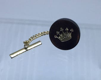 TIE TACK Lapel Pin CROWN Mid Century Modern 50s Mens Jewelry   Fast N Free Shipping