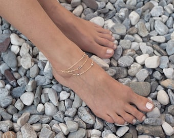 Layered Gold Anklet, CZ diamond Anklet, Delicate Gold Anklet