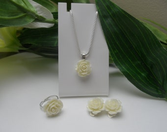 Flowergirl Jewelry Set, flowergirl necklace, flowergirl clip on earrings, flowergirl ring, flowergirl necklace set