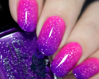 """Nail polish - """"High Contrast"""" A purple  to neon pink  thermal with silver flakes"""