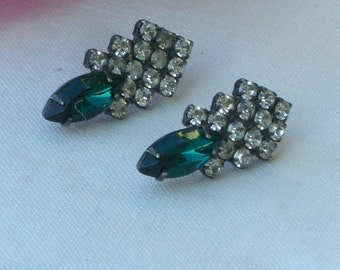 Earrings - Emerald Green Rhinestones - Pierced Ears - May Birthday - Vintage