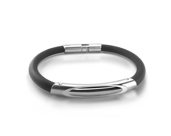 Modern Mens Rubber and Stainless Steel Bracelet
