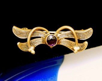 Vintage Art Nouveau Wings Pin Brooch Old C Clasp Amethyst Glass