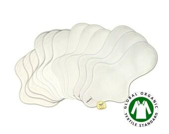 12 pieces Organic cloth pads set / Organic Cotton Cloth Menstrual pads set - 3 Light day, 3 Medium, 3 Heavy flow & 3 Overnight pads (White)