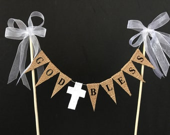 Christening, baptism, first communion, confirmation cake topper, cake banner, cake bunting, burlap / hessian flags and white lace cross