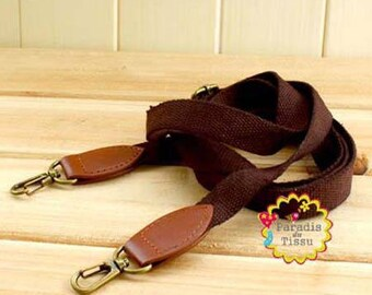 1 x strap banduliere cotton strap 2 cm dark brown color D012