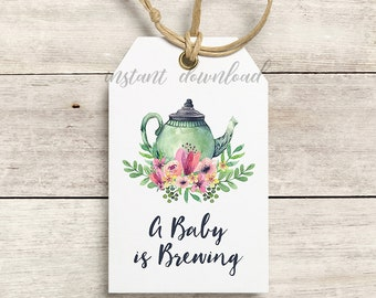 A Baby is Brewing Favor Tags, Thank You Tags, Gift tags, Baby Tea Party, Baby Shower, Baby Shower Tea Teapot, Floral, Printable No. 1018