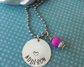 Custom Hand Stamped Personalized Name beaded necklace with colored bead dangle