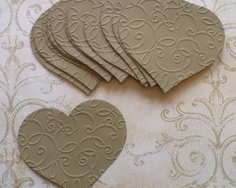 10 Full Heart Embossed Shapes Die Cuts Made from Kraft Cardstock for Rustic Weddings Tags Cardmaking Labels