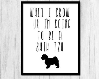 Shih Tzu Art Print Dog Printable Art Shih Tzu Print Digital Download Shih Tzu Printable Art Cute Dog Print Cute Dog Printable Shih Tzu