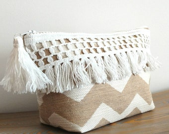 Boho fringe makeup bag, Boho cosmetic bag, fringe cosmetic bag, fringe bohe, boho toiletry bag, mothers day gifts, mom gifts, gifts for mom