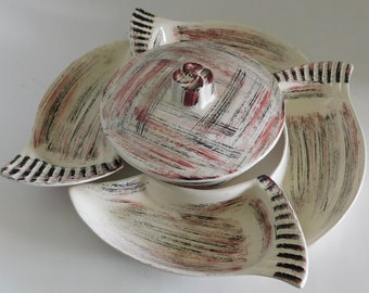 California Pottery Chip and Dip Set 1950's