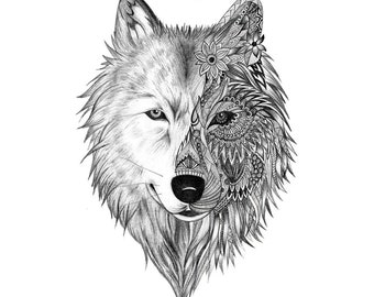 Wolf Temporary Tattoo T047