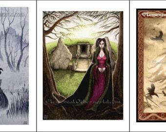 Mists of Avalon, Print Set 3x A5 / A4, Celtic mythology, Lady of the Lake, Morgan le Fey, The Morrigan, Arthurian Legend, Celtic goddesses