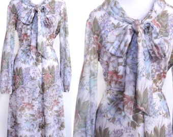 Lavender Floral Dress - Flower Print in White, Blue, Green, Coral - Bow Collar - Fit & Flare - Sheer Sleeves - Tie Belt - Vintage 70s Dress