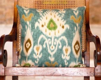 "Turquoise Ikat Pillow 20"""
