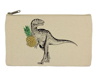 Pencil case/ stationary/ dinosaur with pineapple/ pencil pouch/ canvas bag/ pencil holder/ make up bag/ school supplies