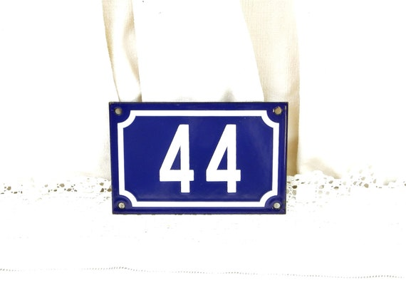 Vintage Traditional French Blue and White Metal Number Plaque 44, Vintage Porcelain House Street Enameled Address sign