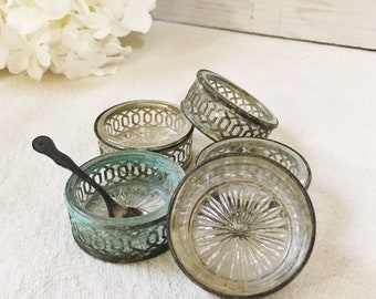 Vintage Salt Cellars-Silver and Glass-Set of 5