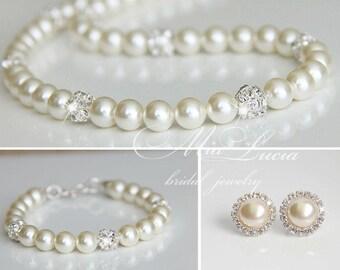 Wedding Jewelry Set, Swarovski Pearl Bridal Jewelry Set, Pearl Necklace Clip On Earrings Bracelet Set, Bridal Stud Earrings art. e03-b04-n01