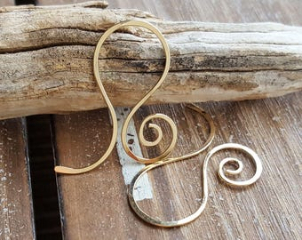 Large Gold Hoop Earrings, Hammered French Swirls, 14k Gold Filled - Artisan Jewelry