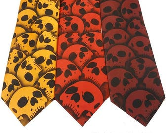 RokGear Custom Skull tie burgundy, red or orange skull necktie - Available in over 50 different necktie colors