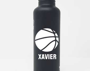 Klean Kanteen® 27oz Stainless Steel Water Bottle, Baksetball - Personalized, Sport Cap, Name, Reusable, Water Bottle, Team