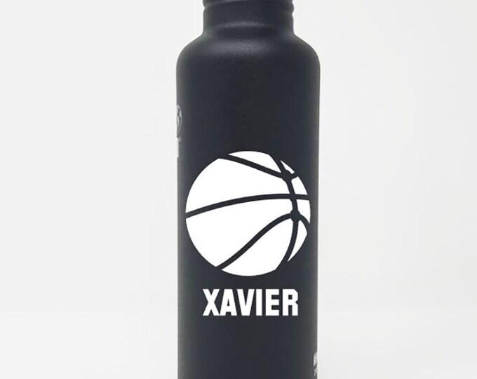 Klean Kanteen ® 27oz Stainless Steel Water Bottle, Baksetball - Personalized, Sport Cap, Name, Reusable, Water Bottle, Team