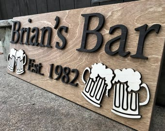 Personalized Bar Sign Wooden Sign Gift Custom Wood Sign Personalized Wood Sign Cabin Man Cave Pub