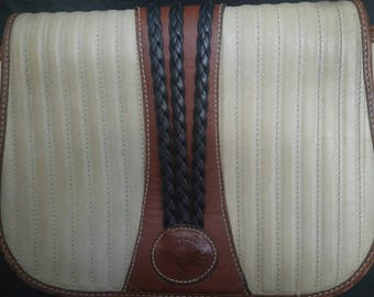Vintage Bar Harbor Classics 1970's -1980's Cream and Brown Leather Cross-body bag Made in Maine, USA