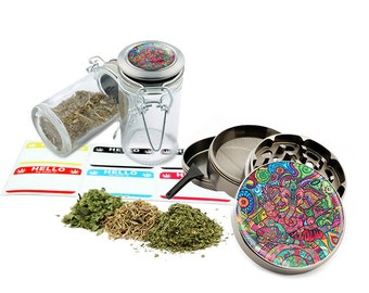 "Ganesha - 2.5"" Zinc Alloy Grinder & 75ml Locking Top Glass Jar Combo Gift Set Item # 110514-0032"