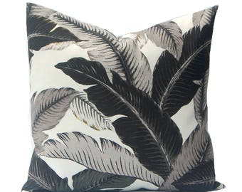 Banana Leaf Pillow Cover - Outdoor Pillow Cover - Tommy Bahama Swaying Palms Pillow - Black and Gray - Black Throw Pillow Cover - Outdoor