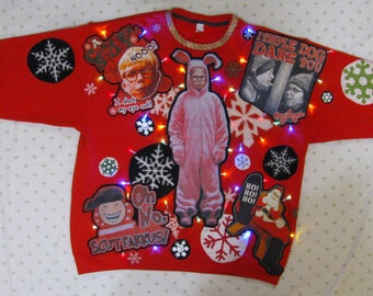 sale front back decorated xl triple dog dare you pink nightmare ralphie light up christmas sweater