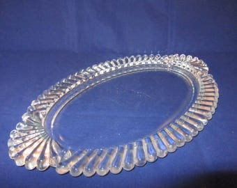 Mid Century Pressed Glass Oval Vanity Tray with petal edge