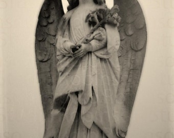 Guardian Angel. Original Digital Art Photograph. Angel Wings. Lillies. Wall Art. Wall Decor Print. A GIFT of FLOWERS by Mikel Robinson