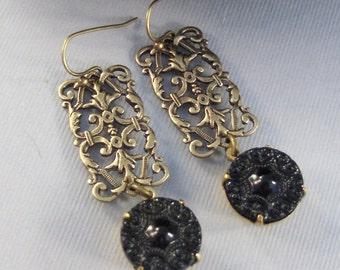 Dusk,Earring,Black Earring,Noir,Gypsy,Gypsy Earring,Bohemian,Long Earring,Black and Gold,Black,Vintage Earring. Valleygirldesigns