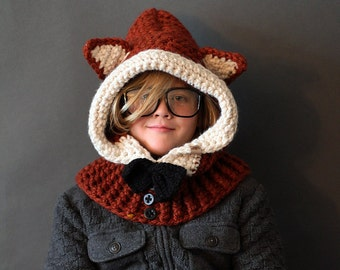 Crochet Hood PATTERN Hooded Fox Cowl Crochet Hood Pattern Includes Sizes 1 Year to Adult