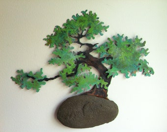 2XL Moyohgi Style Bonsai Wall Sculpture with Found Stone - DEPOSIT FOR COMMISSION