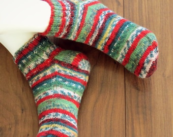 Hand Knitted Socks for Women. Size 8-9. Superwash Wool / Nylon Infused with Aloe Vera.