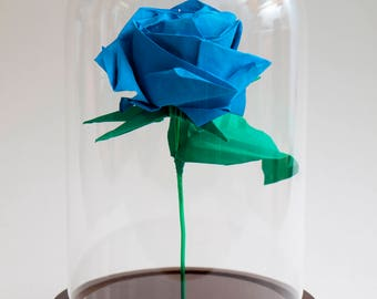 Eternal rose origami blue rose in large decorative globe