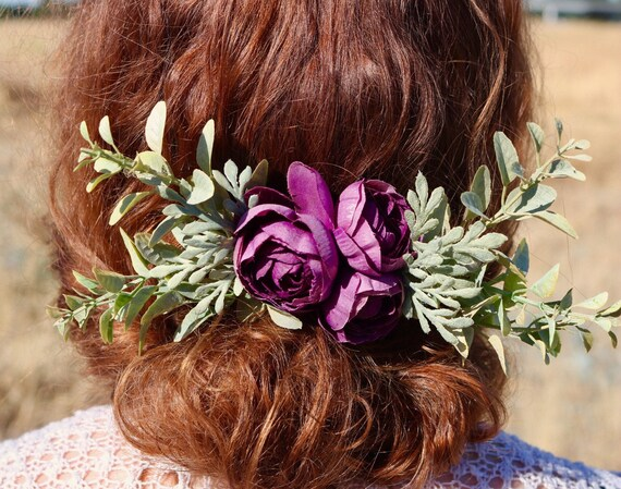 Silk flower comb floral hair comb purple bridal comb purple mightylinksfo