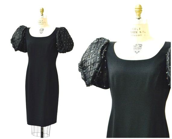 80er Jahre Vintage schwarze Partei Kleid große von Rimini Saks