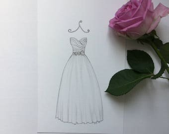 CUSTOM Wedding dress illustration