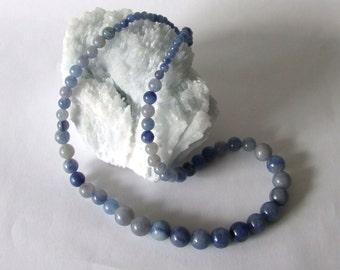 Graduated Blue Aventurine Bead Necklace